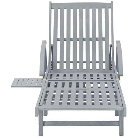 Hommoo Garden Sun Lounger Grey Solid Acacia Wood QAH29915