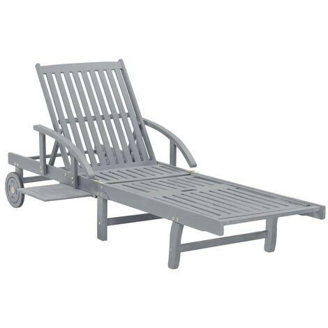 Hommoo Garden Sun Lounger Grey Solid Acacia Wood VD29915