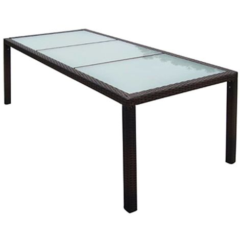 Hommoo Garden Table 190x90x75 cm Brown Poly Rattan and Glass