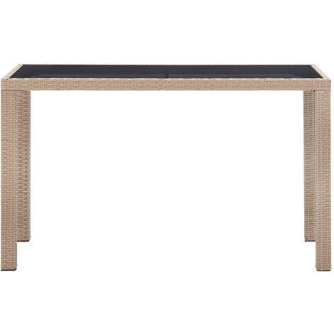 Hommoo Garden Table Beige 123x60x74 cm Poly Rattan QAH45526