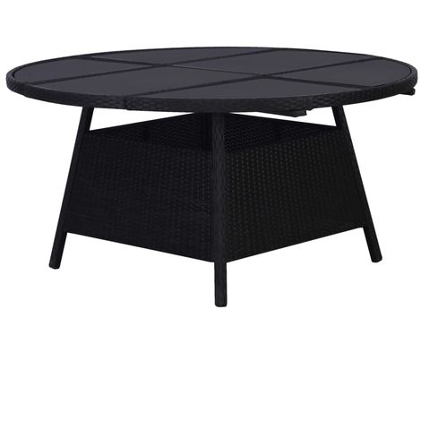 Hommoo Garden Table Black 150x74 cm Poly Rattan