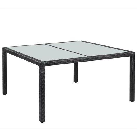 Hommoo Garden Table Black 150x90x75 cm Poly Rattan