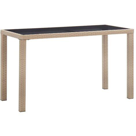 Hommoo Garden Table Grey 123x60x74 cm Poly Rattan VD45526