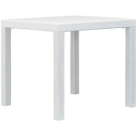 Hommoo Garden Table White 79x79x72 cm Plastic Rattan Look VD29731