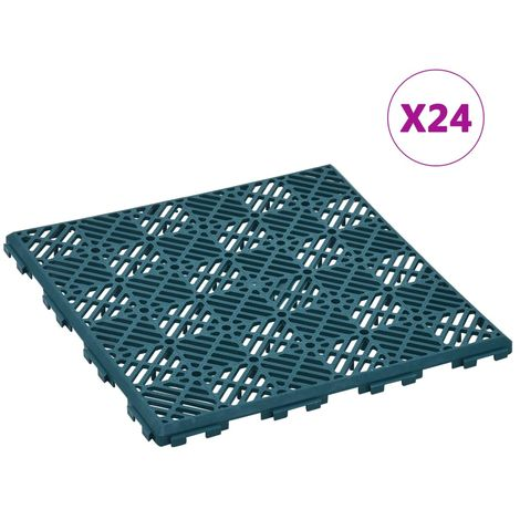 Hommoo Garden Tiles 24 pcs Green 29x29 cm Plastic