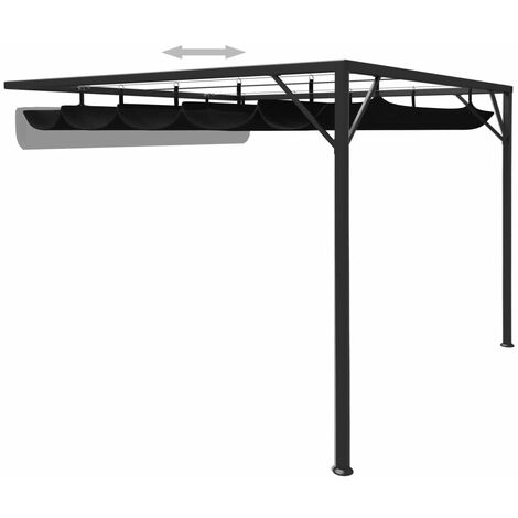 Hommoo Garden Wall Gazebo with Retractable Roof Canopy 3x3 m Anthracite QAH46223