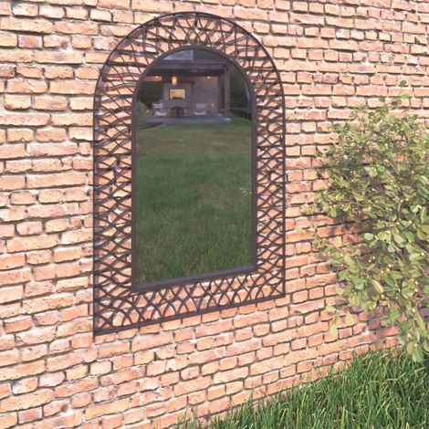 """main image of """"Hommoo Garden Wall Mirror Arched 50x80 cm Black VD18499"""""""