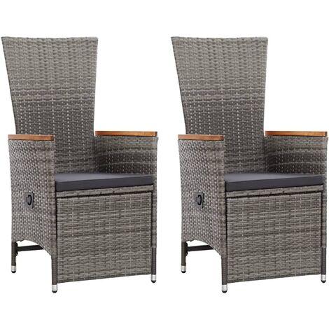 Hommoo Garten-Liegestühle 2 Stk. mit Auflagen Poly Rattan Grau DDH45379