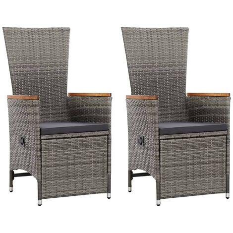 Hommoo Garten-Liegestühle 2 Stk. mit Auflagen Poly Rattan Grau VD45379