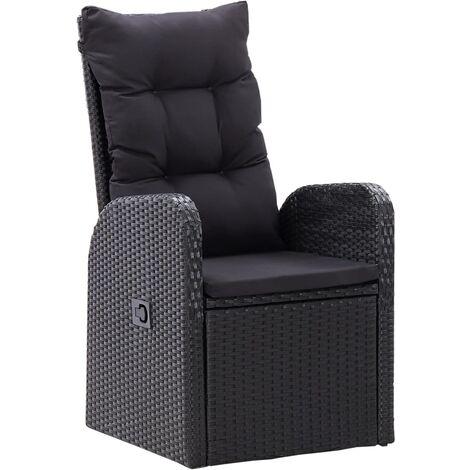 Hommoo Garten-Liegestühle 2 Stk. mit Auflagen Poly Rattan Schwarz DDH45390