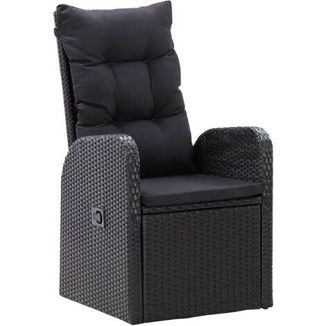 Hommoo Garten-Liegestühle 2 Stk. mit Auflagen Poly Rattan Schwarz VD45390
