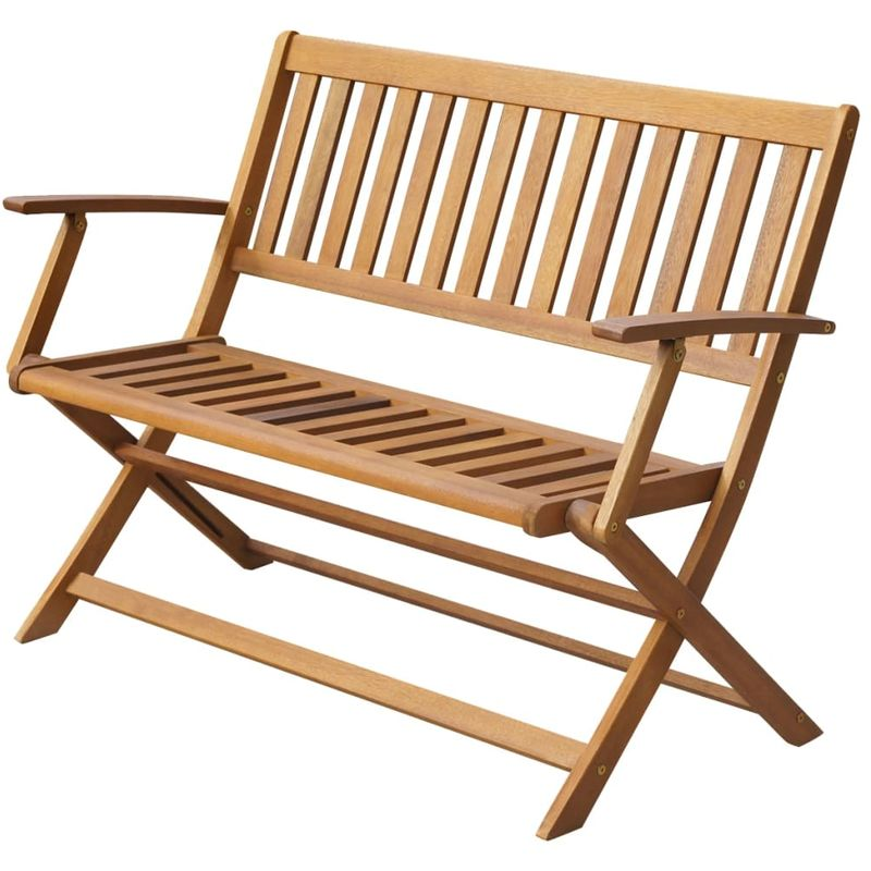 Gartenbank 120 cm Massivholz Akazie VD28339 - Hommoo