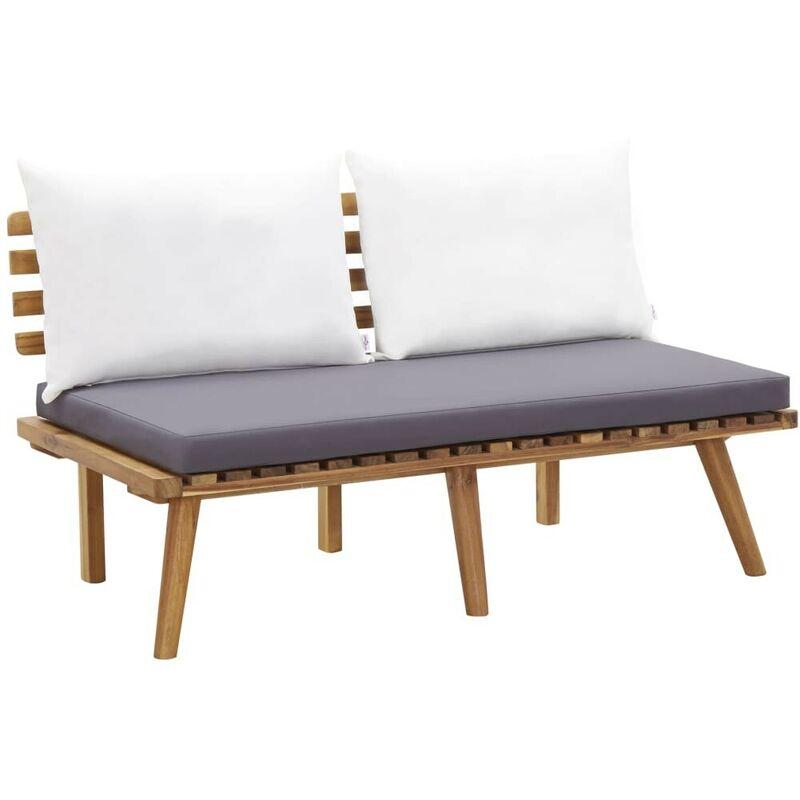 Gartenbank mit Kissen 115 cm Massivholz Akazie VD45617 - Hommoo