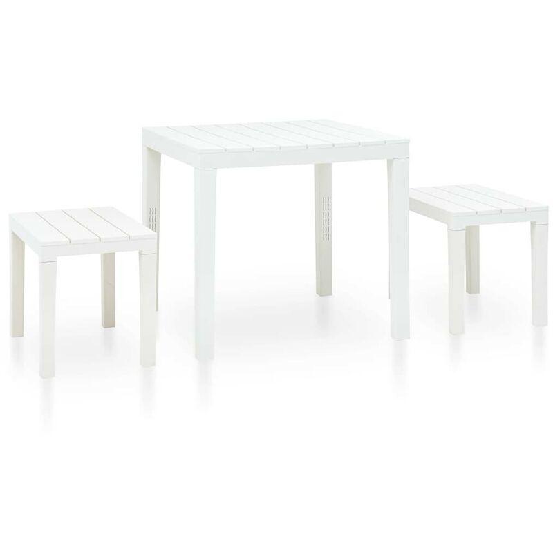 Hommoo Gartentisch mit 2 Bänken Kunststoff Weiß VD46667