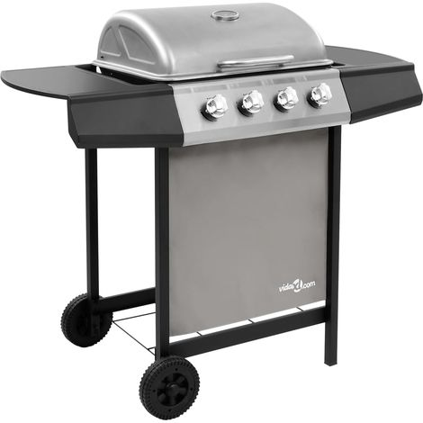 Hommoo Gas BBQ Grill with 4 Burners Black and Silver (FR/BE/IT/UK/NL only)