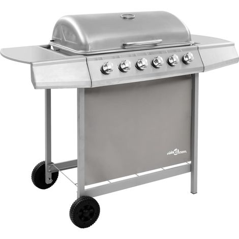 Hommoo Gas BBQ Grill with 6 Burners Silver (FR/BE/IT/UK/NL only)
