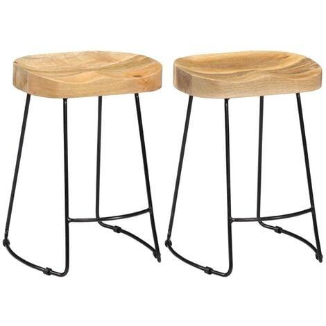 Hommoo Gavin Bar Stools 2 pcs Solid Mango Wood VD13688