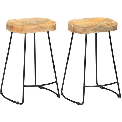 Hommoo Gavin Bar Stools 2 pcs Solid Mango Wood VD13689
