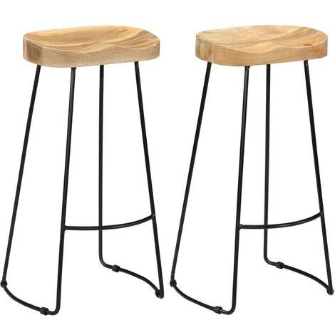 Hommoo Gavin Bar Stools 2 pcs Solid Mango Wood VD13690