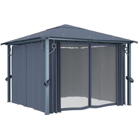 Hommoo Gazebo with Curtain 300x300 cm Anthracite Aluminium QAH46262