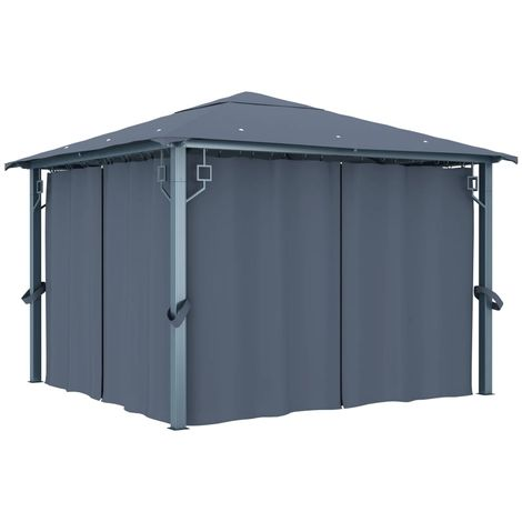 Hommoo Gazebo with Curtain 300x300 cm Anthracite VD46262