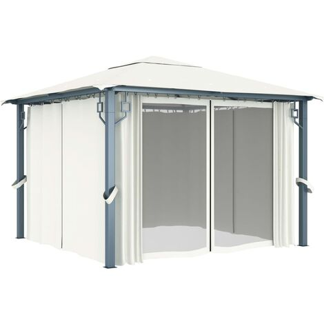 Hommoo Gazebo with Curtain 300x300 cm Cream Aluminium QAH46261