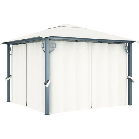 Hommoo Gazebo with Curtain 300x300 cm Cream VD46261