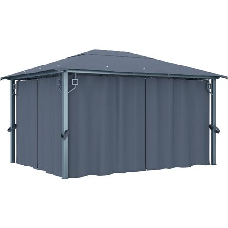Hommoo Gazebo with Curtain 400 x 300 cm Anthracite
