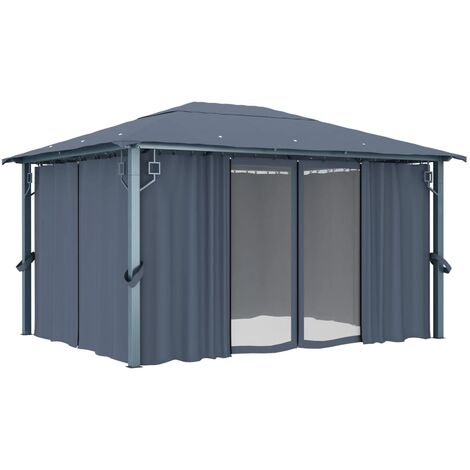 Hommoo Gazebo with Curtain 400 x 300 cm Anthracite Aluminium QAH46264