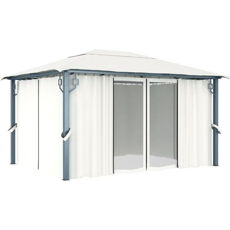 Hommoo Gazebo with Curtain 400 x 300 cm Cream Aluminium QAH46263
