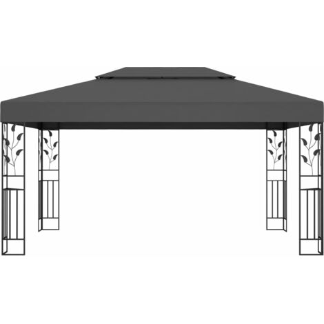 Hommoo Gazebo with Double Roof 3x4m Anthracite QAH46253