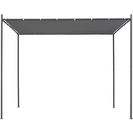 Hommoo Gazebo with Flat Roof 3x3x2.4 m Anthracite QAH46232