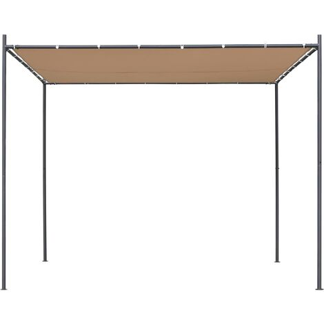 Hommoo Gazebo with Flat Roof 3x3x2.4 m Beige QAH28960