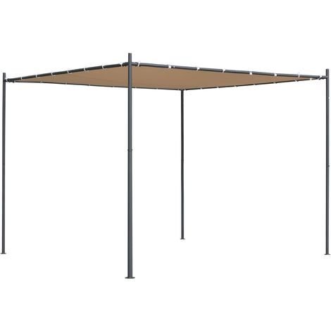 Hommoo Gazebo with Flat Roof 3x3x2.4 m Beige VD28960