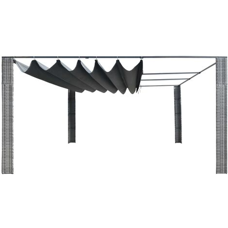 Hommoo Gazebo with Sliding Roof Poly Rattan 400x400x200 cm Grey and Anthracite QAH29004