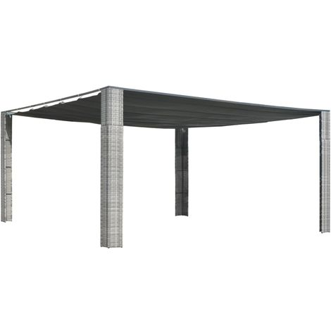 Hommoo Gazebo with Sliding Roof Poly Rattan 400x400x200 cm Grey and Anthracite VD29004