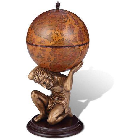 Hommoo Globe Bar Wine Stand Atlas Design 42x42x85 cm