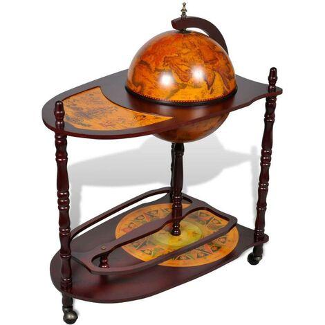 Hommoo Globe Bar Wine Stand Wood Freestanding