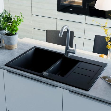 Hommoo Granite Kitchen Sink Double Basin Black