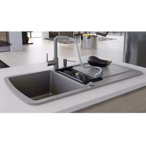 Hommoo Granite Kitchen Sink Double Basin Grey