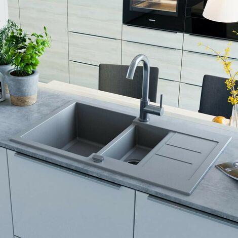 Hommoo Granite Kitchen Sink Double Basin Grey