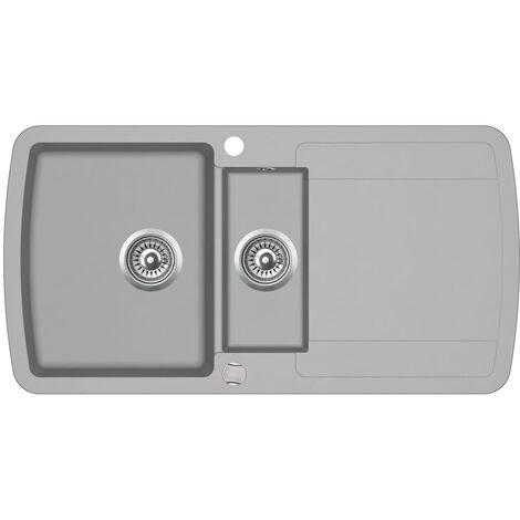 Hommoo Granite Kitchen Sink Double Basin Grey QAH04961