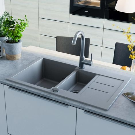 Hommoo Granite Kitchen Sink Double Basin Grey VD04965