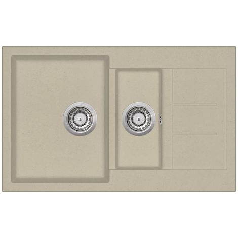 Hommoo Granite Kitchen Sink Double Basins Beige