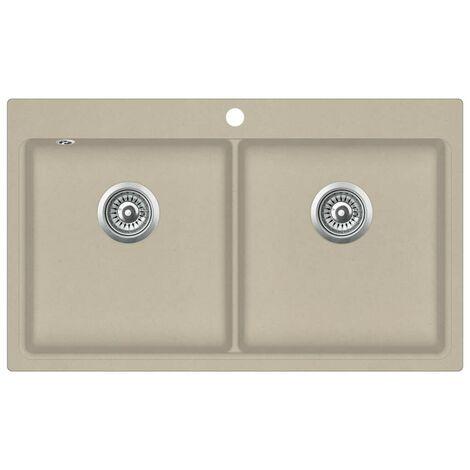 "main image of ""Hommoo Granite Kitchen Sink Double Basins Beige VD06238"""
