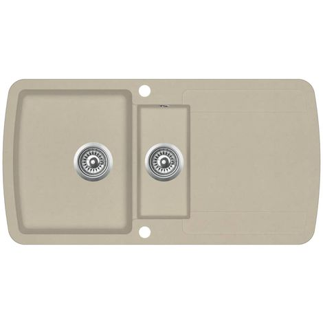 "main image of ""Hommoo Granite Kitchen Sink Double Basins Beige VD06241"""