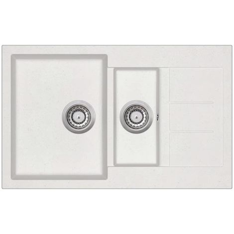 Hommoo Granite Kitchen Sink Double Basins White