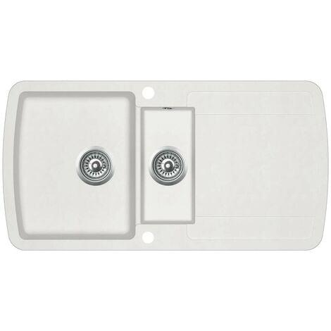Hommoo Granite Kitchen Sink Double Basins White VD06242