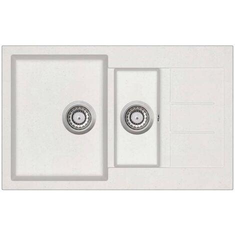 Hommoo Granite Kitchen Sink Double Basins White VD06246
