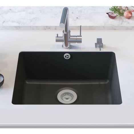 Hommoo Granite Kitchen Sink Single Basin Black